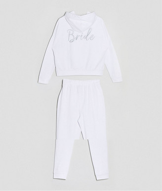 ASOS DESIGN tracksuit hoodie / slim jogger with bride embroidery in white