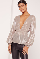 Missguided Metallic Foiled Plunge Neck Blouse Silver