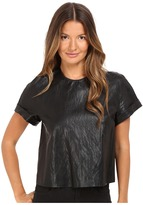 Just Cavalli Eco-Leather Cropped T-Shirt Women's T Shirt