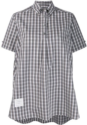 Thom Browne High-Low Checked Shirt