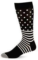 Happy Socks Contrast Patterned Crew Socks