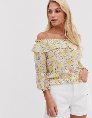 Vila soft floral off shoulder top-Pink