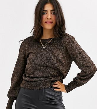 Vila Petite metallic sweater with balloon sleeves in black shimmer
