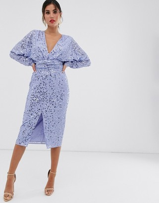 Asos Design DESIGN midi dress with batwing sleeve and wrap waist in scatter sequin-Blue