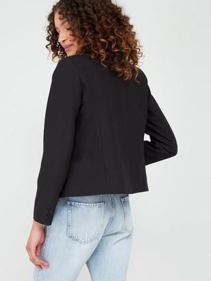 Wallis Edge To Edge Smart Blazer Jacket - Black