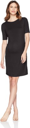 Three Seasons Maternity Women's Maternity Elbow Sleeve Keyhole Back Solid Knit Dress