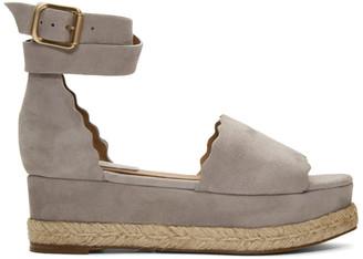 Chloé Grey Suede Lauren Espadrille Sandals