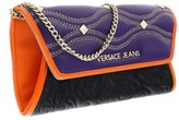 Versace Ee3vobpk3 Emgh Black/purple Wallet On A Chain.