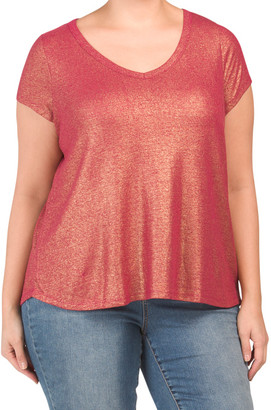 Plus Linen Metallic Shine T-shirt