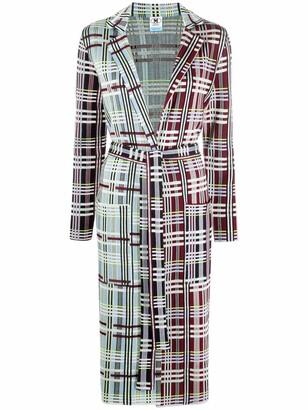 M Missoni Plaid-Check Print Knitted Coat