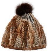 Adrienne Landau Real Rabbit Fur Hat