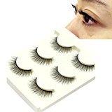 Start 3 Pair Natural Make Up Soft Dense False Eyelashes Black Eye Lashes (C)