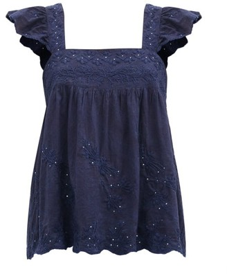 Juliet Dunn Ruffle-sleeve Floral-embroidered Cotton Top - Navy