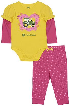 John Deere Girls' Infant Bodysuits YELLOW/MAGENTA - Yellow & Magenta Tractor Heart Bodysuit & Leggings - Infant