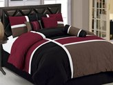 Chezmoi Collection 7-Piece Quilted Patchwork Duvet Cover Set, Queen, Burgundy Brown/Black