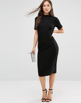 B.young Short Sleeve Knitted Bodycon Dress With Button Detail