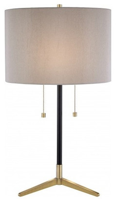 Design Living Antique Brass and Black Frame Table Lamp With Drum Shade