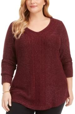 Belldini Plus Size Glitter Cable-Knit Sweater
