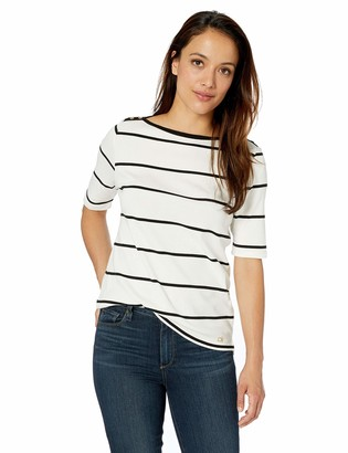 Calvin Klein Women's Plus Size Stripe Half Sleeve Top with Boat Neck