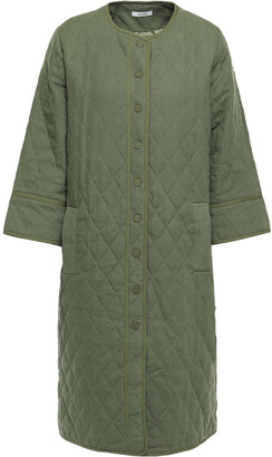 Ganni Camellia Quilted Linen And Cotton-blend Jacket
