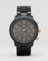 Asos Bracelet Watch In Black And Rose Gold