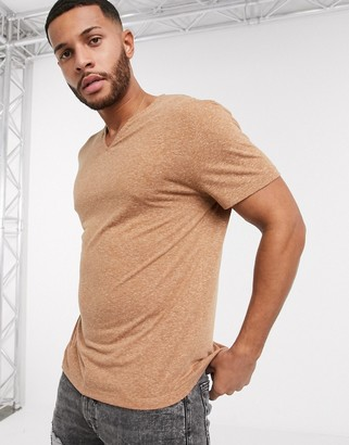 ASOS DESIGN relaxed kaftan t-shirt in tan linen mix