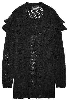 Moschino Ruffle-trimmed Open-knit Cardigan