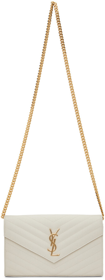 Thumbnail for your product : Saint Laurent Off-White Monogramme Chain Wallet Bag