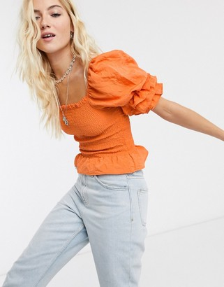 Bershka shirred blouse with frill sleeves in orange