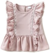 Edgehill Collection Little Girls 2T-4T Flutter-Sleeve Peplum Top