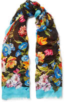 Dolce & Gabbana Frayed Floral-print Modal And Cashmere-blend Scarf - Black