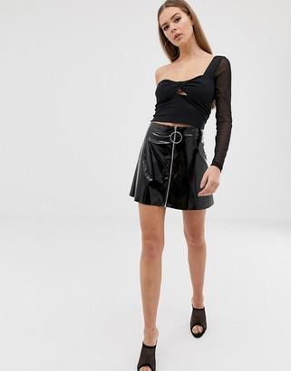Asos Design DESIGN one shoulder mesh long sleeve top with twist front-Black