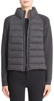 Moncler Quilted Down Front Wool Knit & Flannel Jacket