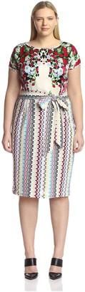 Melissa Masse Plus Women's Mix Print Dress