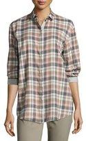 Lafayette 148 New York Sabira Long-Sleeve Madras Plaid Blouse, Femme Pink Multi
