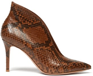 Gianvito Rossi Vania 85 Python Ankle Boots - Womens - Brown