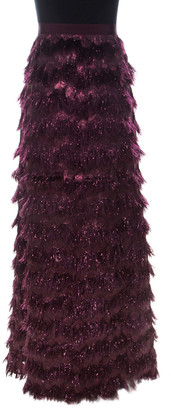 Max Mara Burgundy Metallic Jacquard Tinsel Fringed Maxi Skirt M