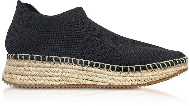 Alexander Wang Dylan Black Knit Low Top Sneakers w/Jute Sole