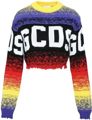 GCDS Crop Multicolor Logo Sweater