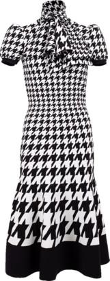 Alexander McQueen Houndstooth Tie Neck Knit Dress