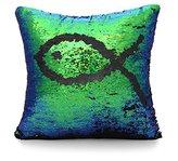 "Uarter Reversible Sequins Mermaid Pillow Cases Square Sofa Throw Pillowcase Cushion Case 16""X16"" Green-Black"