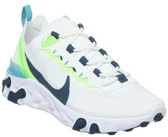 Nike React Element 55 Trainers White Blue Force Summit White Electric Green Blue