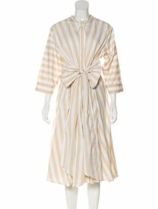 Tome Striped Midi Dress Tan