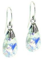 Queenberry Aurora Borealis Swarovski Elements Teardrop Crystal Sterling Silver Dangle Earrings