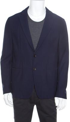 Armani Collezioni Navy Blue Textured Waffle Jacquard Two Button Blazer XL