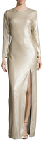 Halston Sequin High Split Maxi Gown