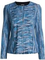 Misook Zip-Front Melange Knit Jacket