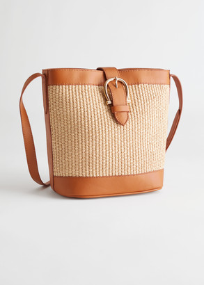 And other stories Leather Trim Woven Bucket Bag