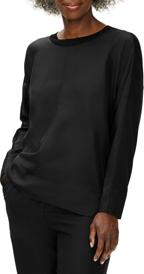 Thumbnail for your product : Eileen Fisher Stretch Crepe & Silk Long Sleeve Top