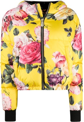 Philipp Plein Floral-Print Hooded Puffer Jacket